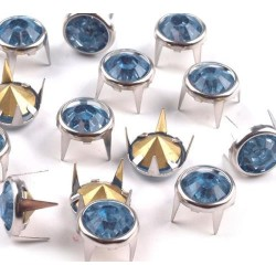 Szegecs strasszkővel 1 cm kék