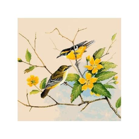 Gobelin 25x25 cm Sz:857 T Madarak sárga virágokkal