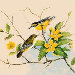 Gobelin 25x25 cm Sz:857 Madarak sárga virágokkal