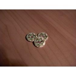 Gomb 1,5 cm zöld virágos fagomb