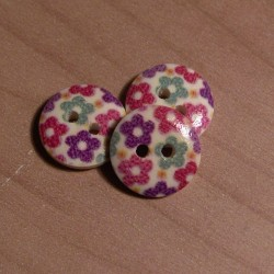 Gomb 1,5 cm tarka virágos fagomb