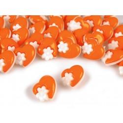 Babagomb 1,5 cm narancssárga szivecske virággal