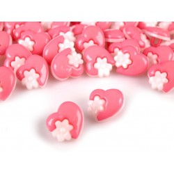 Babagomb 1,5 cm rózsaszín szivecske virággal