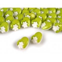 Babagomb 1,5 cm zöld szivecske virággal