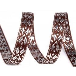 Díszszalag 1 cm lurexszel barna/ezüstszínű
