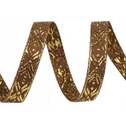 Díszszalag 1 cm lurexszel barna/aranyszínű