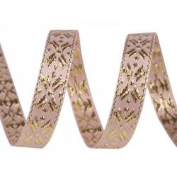 Díszszalag 1 cm lurexszel rózsaszín/aranyszínű