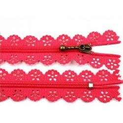 Cipzár csipke spirál 18 cm pink