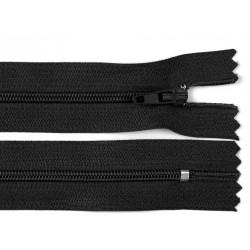 Cipzár 20 cm műanyag fekete