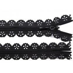Cipzár csipke spirál 16 cm fekete