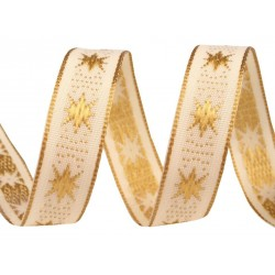 Díszszalag 1,5 cm aranyszínű csillagos