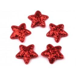 Dekoráció csillag 3,5 cm piros