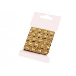 Karácsonyi szalag kártyán 5 m aranybarna