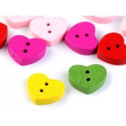 Gomb 1,3x1,5 cm szív vegyes színekben