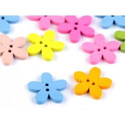 Gomb 1,5 cm virág vegyes színekben