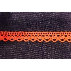Pamutcsipke 1,3 cm narancssárga hullámos szélcsipke