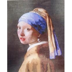 Gobelin 24x30 cm HF046 T Lány gyöngyfülbevalóval