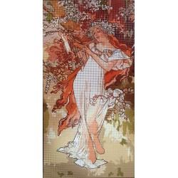 Gobelin 20x40 cm A015 Mucha: Tavasz 1896