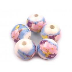 Porcelán gyöngy 1,2 cm kék-színes