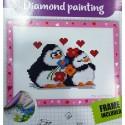 Gyémántszemes kirakó 14x19,5 cm szerelmes pingvinek