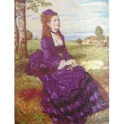 Gobelin 20x25 cm HP021 Színyei -Lilaruhás nő