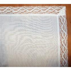 Hímezhető terítő csipkével 85x85 cm fehér