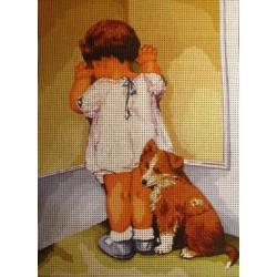 Gobelin 22x30 cm 567 Kislány kutyával