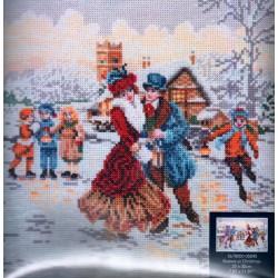 Keresztszemes 20x30 cm 05045 Korcsolyázók karácsonykor