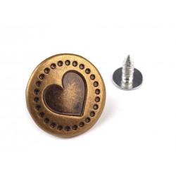 Farmergomb beütős 1,7 cm bronz Szív