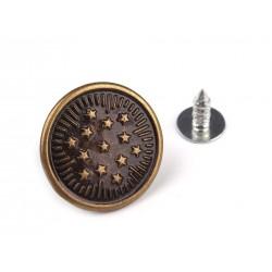 Farmergomb beütős 1,7 cm bronz Csillagok