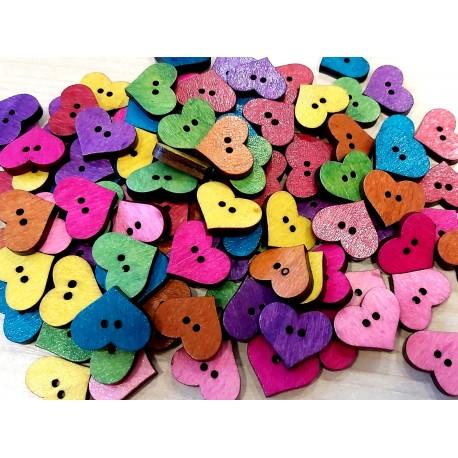 Gomb 1,6x1,9 cm szív vegyes színekben