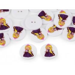 Dekorgomb 1,5 cm hercegnő lila ruhában