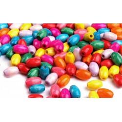 Gyöngy, színes,vegyes,hosszúkás 0,5x0,8 cm