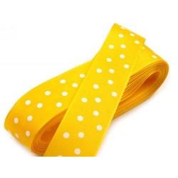 Szalag pöttyös sárga, fehér pöttyös