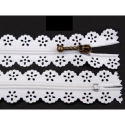 Cipzár csipke spirál 18 cm fehér