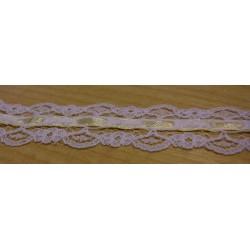 Műszálas csipke 3 cm fehér, vaníliaszínű szalaggal
