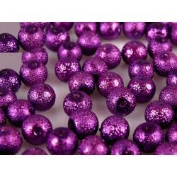 Érdes üveg tekla gyöngy 1,2 cm lila 10 db