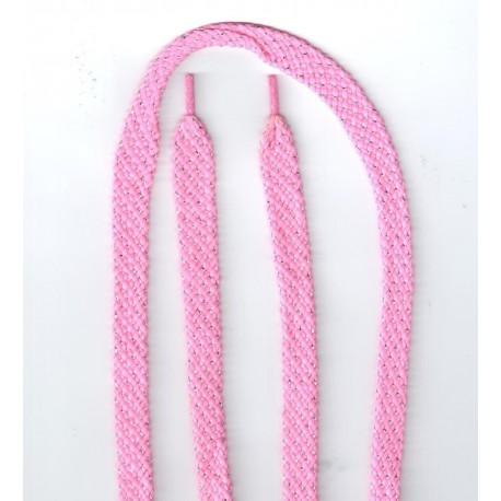 Cipőfűző fémszálas sport 140 cm rózsaszín
