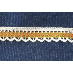 Pamutcsipke 2,2 cm drapp zöld/tégla mintás szélcsipke