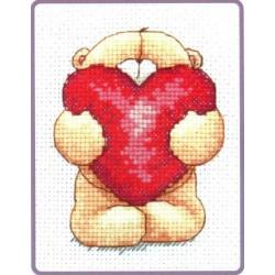 Keresztszemes 11x8 cm FRC213 Maci szívvel