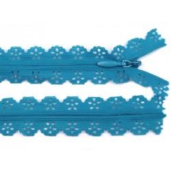Cipzár csipke spirál rejtett 16 cm kék
